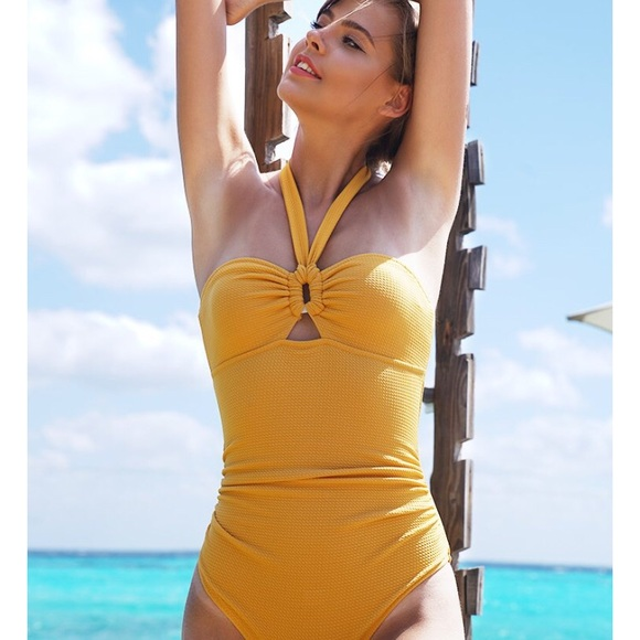 d80142f010718 Cupshe bubbly face halter mustard yellow one piece